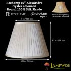 Interiors 1900 Rochamp Alexandra 10in Oyster Round Empire Pleat Silk Shade