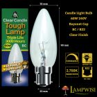 Bell 00081 60w BC/B22 Bayonet Cap Clear Candle Lamp Triple Life 3,000 Hrs