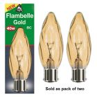 BELL 01371 40W 240V BC/B22 Flambelle Gold Twin Pack Candle Lamps