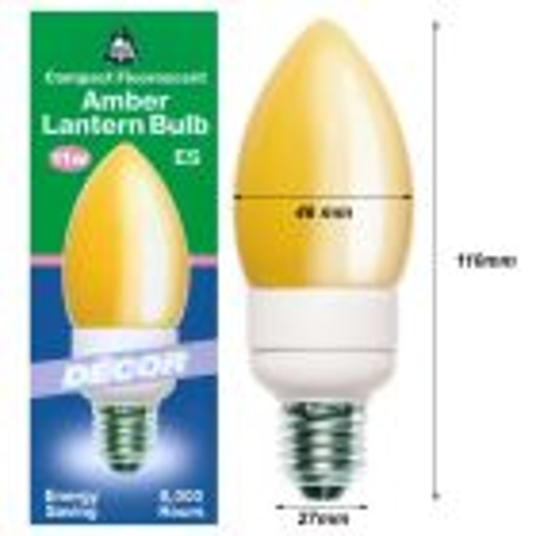 BELL 00720 11W = 60W 220-240V ES E27 Softone Amber Energy Saving Lantern Candle Bulb