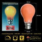 Crompton 60w BC B22 Amber Coloured Gls Light Bulb