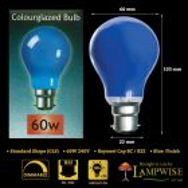 Crompton 60w BC B22 Blue Coloured Gls Light Bulb