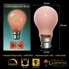 Crompton 60w BC B22 Pink Coloured Gls Light Bulb