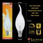 Luxram 25w 240v SES E14 Clear Flame Bent Tip Candelux