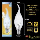 Luxram 40w 240v SES/E14 Clear Flared Flame Bent Tip Candelux Candle Light Bulb