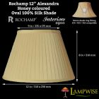 Interiors 1900 Rochamp Alexandra 12in Honey Oval Empire Pleat Silk Shade