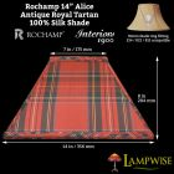 Interiors 1900 Rochamp Alice 14in Antique Royal Tartan Square Silk Shade
