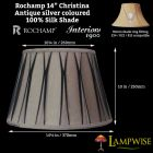 Interiors 1900 Rochamp Christina 14in Antique Silver Pinch Pleat Silk Shade