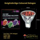 MR16 50W 12V 50mm RED COLOURED HALOGEN SEALED DICHROIC