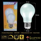 Luxram 40W 240V ES/E27 Edison Screw GLS Dimmable Pearl Light Bulbs Twin Pack