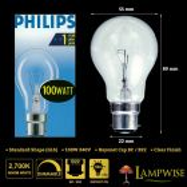 Philips 100w 240v Bayonet Cap BC B22 GLS Dimmable Clear Light Bulb