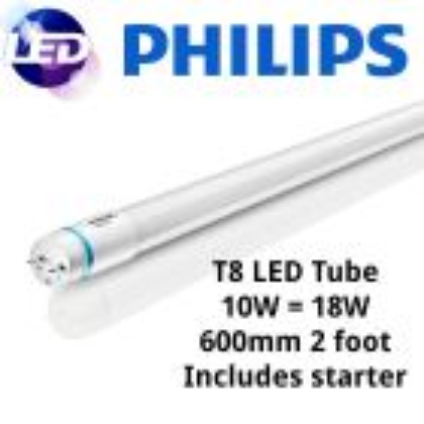 Philips Master 10w Ledtube Ga100 6500k Daylight T8 600mm 2ft Tube