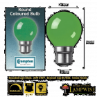 Crompton 25 Watt BC B22 Green Coloured Golf Ball Bulb