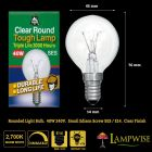 Bell 40w SES E14 Small Edison Screw Clear Round Tough Lamp