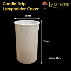 White 37 x 70 mm Candle Drip Plastic Cover