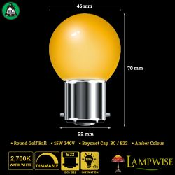 BELL 15W BC/B22 45mm Amber Coloured Vacuum Filled Round Ball Festoon Lamp