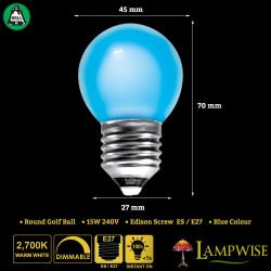 BELL 15W ES/E27 45mm Blue Coloured Vacuum Filled Round Ball Festoon Lamp