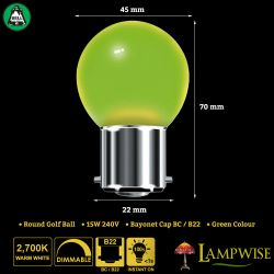 BELL 15W BC/B22 45mm Green Coloured Vacuum Filled Round Ball Festoon Lamp