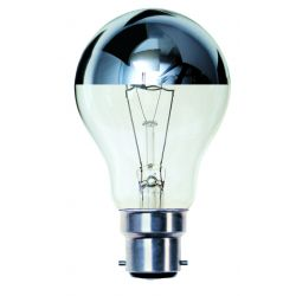BELL 03012 - 100W 240V BC B22 GLS Mirror Crown Silver Top Light Bulb