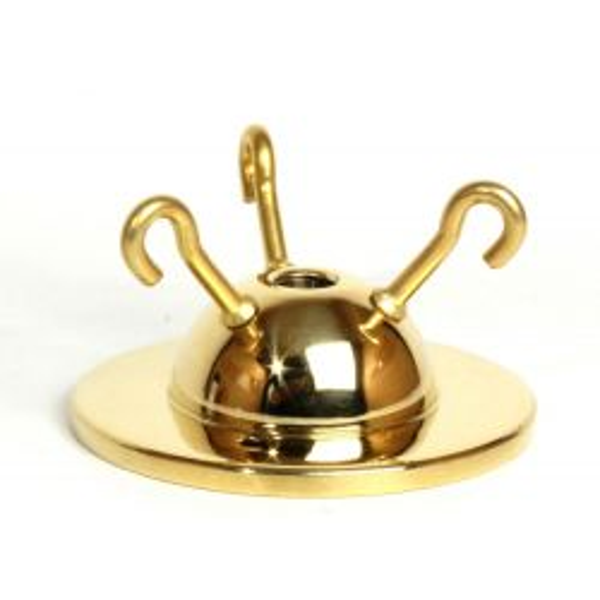 3-hook Ceiling Plate Brass 2¾ inch Ø