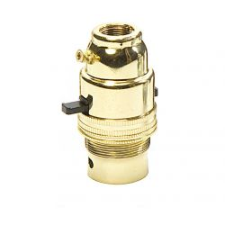 Ecofix BC Lampholder ½ inch Switched Brass External Earth