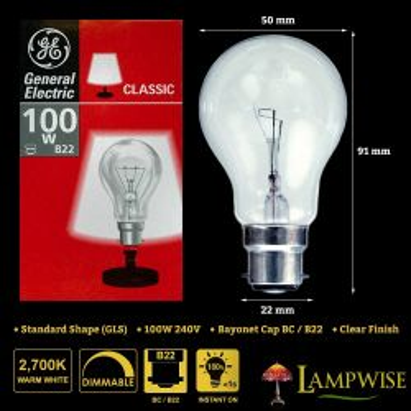 GE 100w 240v Bayonet Cap BC B22 Mini GLS Dimmable Clear Light Bulb