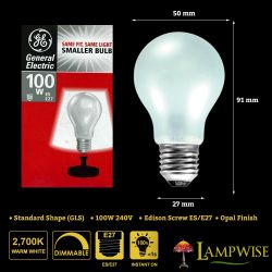 GE 100W 240V ES 27 Mini GLS Dimmable Opal Warm White Light Bulb