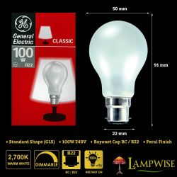 GE 100W 240V Bayonet BC/B22 Mini GLS Dimmable Incandescent Pearl Light Bulbs