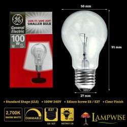Ge 100w 240v Edison Screw ES E27 Mini Gls Dimmable Clear Light Bulb