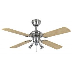 "Fantasia 111658 Bali 42"" Stainless Steel / Maple Ceiling Fan with Light"