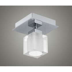 EGLO 90117 Bantry Flush Ceiling Light In Matt Nickel With Square Clear/Frosted Glass Shade