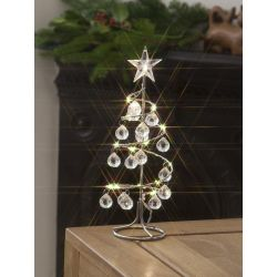 Battery Operated Christmas Spiral Jewel Tree, Warm White LEDs. 26cm Height