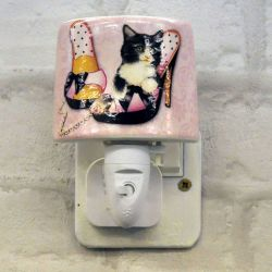 Kitten with Shoe Ceramic Plug-in Night Light