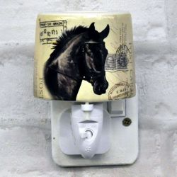 Black Horse Ceramic Plug-in Night Light