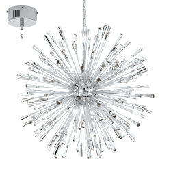 Eglo 39261 VIVALDO 1 LED Cluster Steel Chrome Crystal Ceiling Pendant