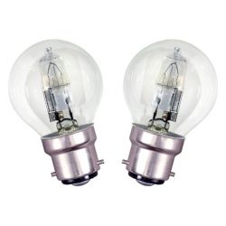 2x Halogen Round Golf Ball 46W = 56W 230V BC B22 Energy Saver, Warm White, Dimmable