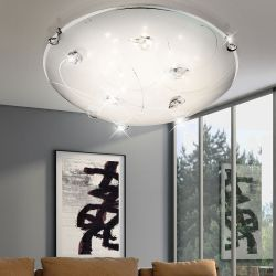 GLOBO Lighting 40427 Flush 3100k Warm white Crystal design over opal shade