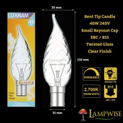 Luxram 40w 240v SBC B15 Clear Candelux Flame Bent Tip Twisted Candle Light Bulb