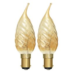 BELL 00897 - 40W 240V SBC B15 Twisted Bent Tip Candelux Gold Candle Lamp Twin Pack
