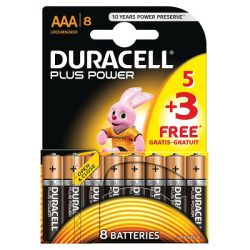 Duracell Plus Power AAA LR03 MN2400 Alkaline Batteries 8 Pack (Expiry. 2028)