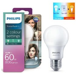 Philips LED SceneSwitch 9.5W=60W ES E27 Toggle Between Warm or Cool White GLS Lamp