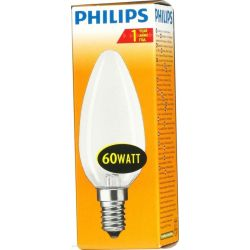 Philips 60W 230V SES E14 Dimmable 35mm Opal Candle Light Bulb