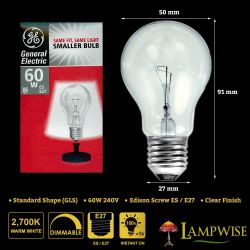 GE 60W 240V Edison Screw E27 A50 GLS Dimmable Clear Light Bulb