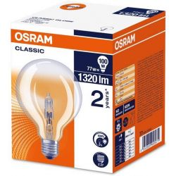 Osram 95mm Clear Globe Halogen Energy Saver 77W=100W ES E27 Dimmable