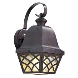 DAR Wexford 1 Light Lattice Lantern Bronze Outdoor Wall Light