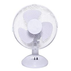 "9"" Desk Fan, White, 2-Speed Control, Rotation & Tilt"