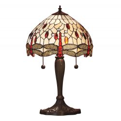 Interiors 1900 T056SH30-DB6 Tiffany Dragonfly Beige Small Table Lamp
