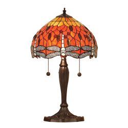 Interiors 1900 T077SH30-DB6 Tiffany Dragonfly Flame Small Table Lamp