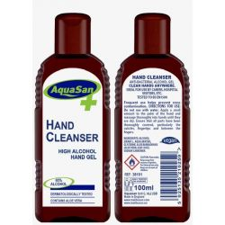 100ml Aquasan Hand Cleanser Sanitiser High Alcohol Gel (Vegan) Free 24 hour Delivery
