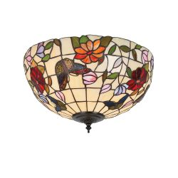 Interiors 1900 TV158M-FL1 Tiffany Butterfly Medium 2Lt Flush Light